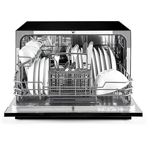 Klarstein Amazonia 6 - Lavavajillas empotrable, 6 modos de funcionamiento, Programa estándar: 120 min, Función Aquastop, Silencioso: 49 dB, 1380 W, 1820 L/año, clase Energética F, Negro