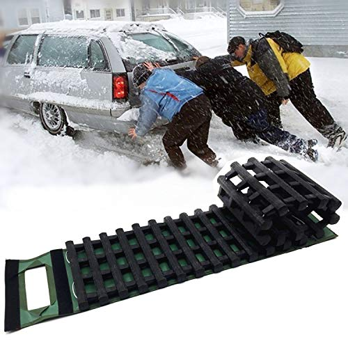 EVTIME mergency Devices Tire Traction Mats, Portable for Snow, Ice, Mud, and Sand Used to Car, Truck, Van or Fleet Vehicle 39.3in