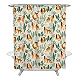 Funny Tropical Floral Palm Leopard Shower Curtain for Bathroom Farmhouse Beach Holiday Camping Hotel, 60x72 Inches Long