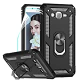 LeYi Compatible for Samsung Galaxy J7 Case,J7 2015/ SM-J700 Case with HD Screen Protector, Military-Grade Rotating Kickstand Full-Body Protective Phone Cover Case for Samsung Galaxy J7 2015,Black