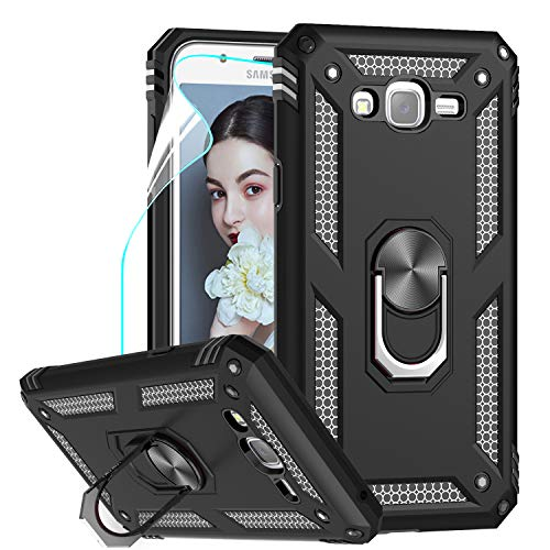 Galaxy J7 Case, Galaxy J7 2015/ SM-J700 Case with HD Screen Protector, LeYi [Military-Grade] Rotating Holder Kickstand Full-Body Protective Phone Cover Case for Samsung Galaxy J7 2015, JSFS