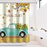 Maccyafst Autumn Fall Shower Curtain Yellow Maple Leaves Bathroom Shower Curtain Retro Farm Car Truck Pulling Sunflower Bath Curtain Thanksgiving Harvest Shower Curtain Sets with 12 Hooks