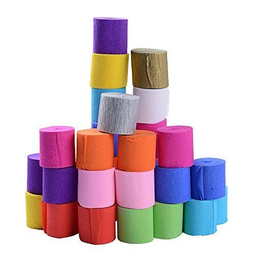 SERWOO 30 Rollen Kreppbänder Bunt Krepppapier 12 Farben Kreppband bunt Bänder Crepe Paper Papier für Party Feier Weihnachten Dekoration (3.5cm*10m/Rolle)