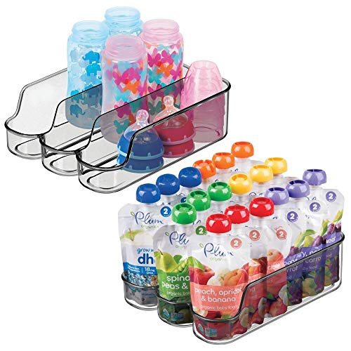 mDesign Small Plastic Kitchen Storage Divided Bin for Child/Kids Supplies - 3 Compartments to Organize Baby Food Jars, Pouches, Bottles, Sippy Cups, Cans, Pacifiers, Shampoo - 2 Pack - Smoke Gray