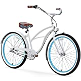 sixthreezero Women's 3-Speed 26-Inch Beach Cruiser Bicycle, BE White/Blue w/Brown Seat/Grips