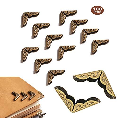 Bronce Antiguo Esquina Protectors,Yueser 100piezas Libro Esquina Corner Protectors para Scrapbooking Álbum de Fotos File Folder Triángulo de Estilo Retro