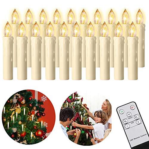 20er LED Weihnachtskerzen mit Fernbedienung Timer Dimmbar, Christbaumkerzen Kabellose Weihnachtsbaumkerzen für Weihnachtsbaum Weihnachtsdeko Hochzeit. Halloween-Dekoration Erntedankgeschenk [Beige]