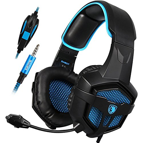 Sades SA-807 Stereo Bass Surround, Soft Memory Earmuffs, Gaming Headset Compatible with PC Xbox One, Mac, PS4, PS4 Pro, Laptop and Mobile Gaming(Black and Blue)