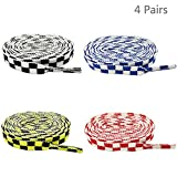 Daimay 4 Paare Mosaik gedruckte Flache Schnürsenkel Ersatzschnürsenkel für Sneakers Schnürsenkel Swap - 1,2 M - Schwarz/Gelb/Rot/Blau