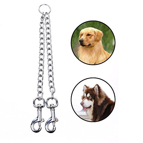 Cosmos Metal Chain Heavy Duty Double Clip Pet Dog Lead Chain 2 Dogs Leash Coupler for Walking Hiking and Training