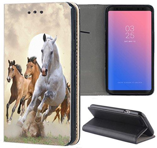 KX-Mobile Hülle für Huawei P30 Lite Handyhülle Design 1025 Pferd Pferde Braun Weiß aus Kunstleder Schutzhülle Smart Flipcover HandyHülle Hülle für Huawei P30 Lite