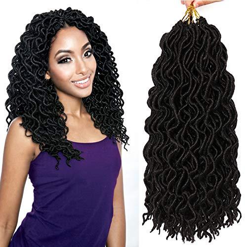 7 Packs Deep Wavy Faux Locs Crochet Hair Curly Goddess Locs Crochet Braids Soft Synthetic Dreadlocs (14 Inch, 1B#)