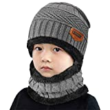 Yuson Girl Conjunto de Bufanda y Gorro de Punto para niños Forro Polar de Lana Beanie Hat Sombrero Cuello Caliente (Gris)