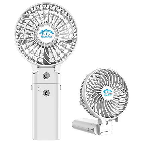 HandFan 携帯扇風機 ハンディファン USB充電式 5200mAhモバイルバッテリー兼用 ハンディ扇風機 手持ち扇風機 ミニ扇風機 手持ち・卓上・クリップ三用 3段階風量 小型 静音(ホワイト)