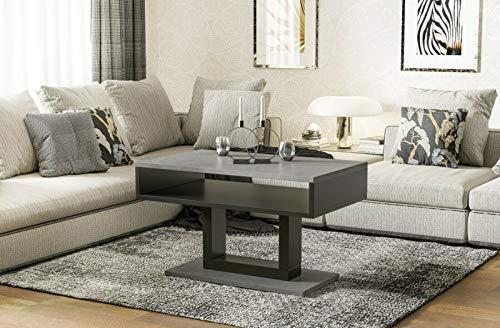 Endo-Moebel Couchtisch Tilo Design modern zweifarbig Wohnzimmertisch Tisch Sofatisch schwarz (Beton)