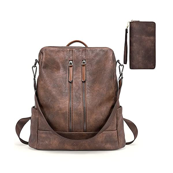 CLUCI Women Backpack Purse Leather Fashion Travel Casual Detachable Ladies Shoulder Bag Two-toned Coffee Women Wallet Large Leather Designer Zip Card Holder Organizer Ladies Coffee 1
