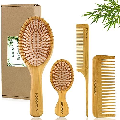 4PCS Brosses à Cheveux en Bambou...
