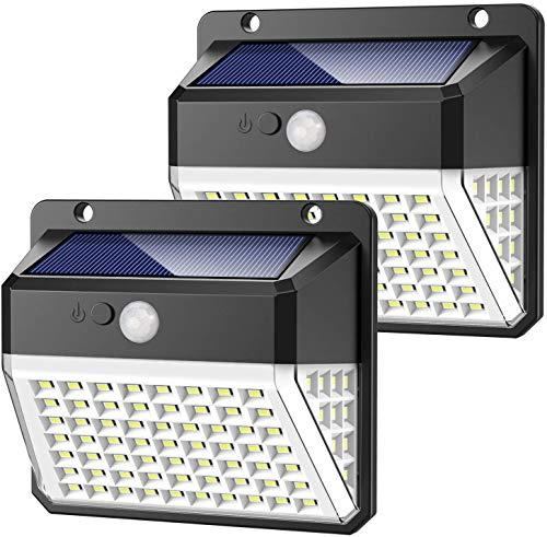 Solarlampen für Außen,【Aktualisierte Version-2000mAh】Yacikos 82 LED Solarleuchte mit Bewegungsmelder Solar Beleuchtung LED 270° Solar Wasserdichte Wandleuchte 3 Modi Solarlicht für Garten-2 Stück