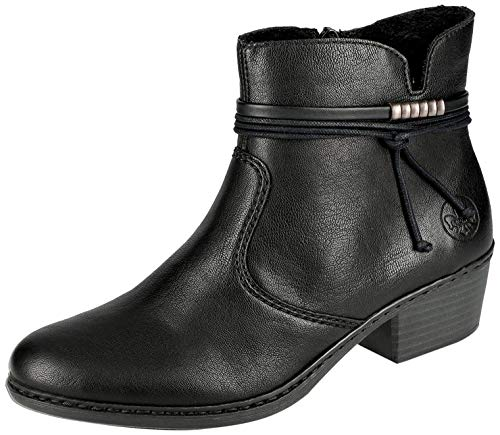 Rieker Damen Stiefeletten 75555, Frauen Ankle Boots,Stiefel,halbstiefel,Bootie,knöchelhoch,reißverschluss,weiblich,Woman,schwarz (00),37 EU / 4 EU