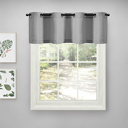 Kitchen Valance Short Curtains for Bathroom 18 inch Privacy Casual Weave Window Dressing Semi Sheer Window Curtain Drapes for Living Room 1 Panel Gray