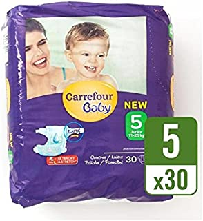 Carrefour Baby Ultra Dry Size 5 Nappies Carry Pack 30 per pack - Pack of 6