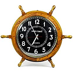 Nagina International Nautical Moon Light Blue Large Wooden Ship Wheel with Ship's Time Captain's Clock - Pirate Home Decorative Clock (18 Inches, Black Dial Face)