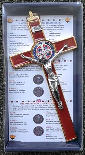 GTBITALY 10.004.21 Rosso Bordeaux Croce di San Benedetto crocefisso Oro Dorato 20 cm smaltato a Mano con Scatola Regalo e Preghiera prete esorcismo esorcista