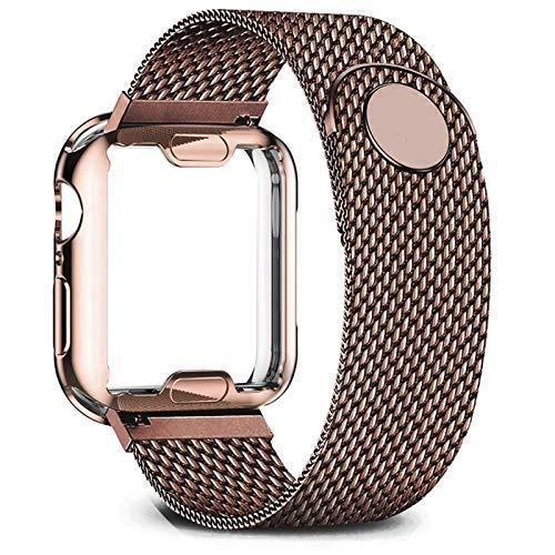 FAAGFC Carcasa + correa para Apple Watch de 40 mm, 44 mm, 38 mm, 42 mm, correa de metal de acero inoxidable serie 6, 5, 4, 3 2 se (color de la correa: café, ancho de la correa: 44 mm, serie 5 4)