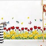 Acuarela amarillo rojo rosa mariposa zócalo PVC pegatinas de pared zócalo sala de estar dormitorio cocina vivero balcón decoración del hogar 120 * 40 cm