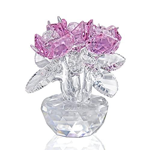 H&D Decorazione in cristallo con piccolo bouquet di rose, con confezione regalo