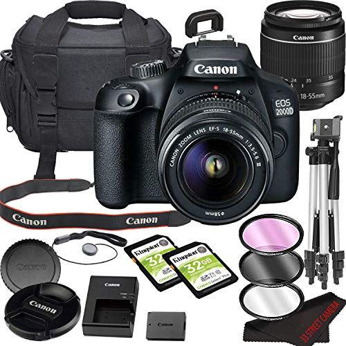 Canon EOS 2000D (Rebel T7) DSLR Camera Bundle with 18-55mm Lens | Built-in Wi-Fi|24.1 MP CMOS Sensor | |DIGIC 4+ Image Processor and Full HD Videos + 64GB Memory(17pcs)