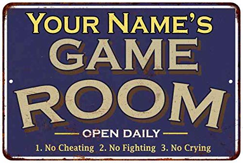 Your Name Game Room Decor Personalized Sign Wall Signs Gameroom Ideas Decorations Games Arcade Retro Video Poster Gamer Art Theater Gaming 12 x 18 Matte Finish Metal 112180002001