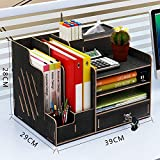 Organiseur de bureau en bois, grande capacité de stockage - Idéal pour les fournitures de bureau, le rangement de fichiers et de documents Noir