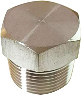 """Metalwork Stainless Steel 316 Pipe Fitting, 1/2"""" NPT Male Solid Hex Head Plug, 1 Pc"""