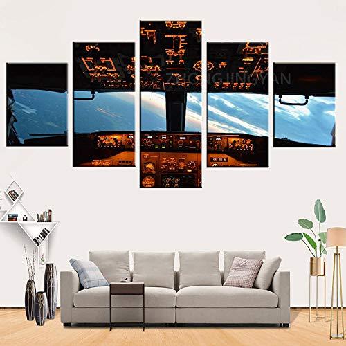 5 piezas de pintura de la lona de la cabina del avión decoración del hogar decoración de la pared de estar póster impresión arte de la pared dormitorio ilustraciones-30x40-30x60-30x80cm-sin marco