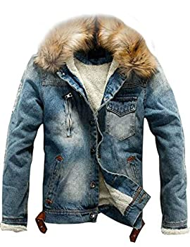 Omoone Men s Button Up Sherpa Fleece Lined Denim Jacket with Faux Fur Collar  Blue M