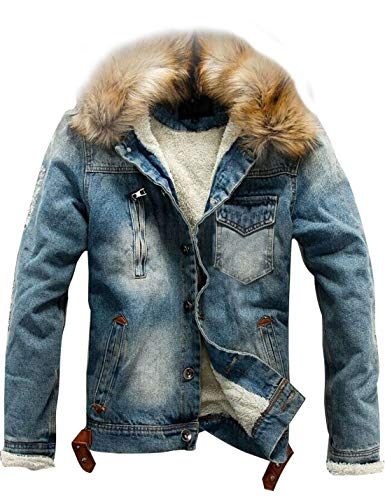 Omoone Men's Button Up Sherpa Fleece Lined Denim Jacket with Faux Fur Collar (Blue, L)