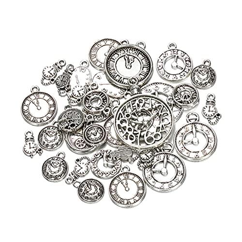 50g 100g mezclado encantos colgantes vintage bronce antiguo reloj Bell pulseras collar artesanía metal aleación de...