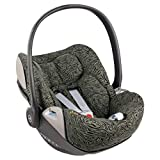 Ukje - Funda silla coche para Cybex Cloud Z - Ajuste perfecto - Tela de algodón transpirable - Funda Cybex Cloud Z - Reduce la sudoración - Lavable a máquina - Fácil de instalar - Verde Zebra