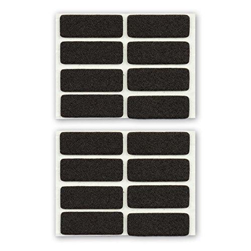 Filzgleiter, Möbelgleiter, eckig, braun, 44 x 16 mm, 3 mm dick, selbstklebend, hochwertiger Filz (Nadelfilz) - 16 Stück, für Stühle, Stuhlbeine, Tischbeine, Möbelbeine - Made in Germany