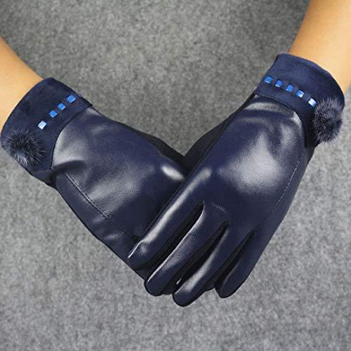 SUNHAO Damenhandschuhe, Nicht Daunen, Lederhandschuhe, Haarbälle, PU, koreanische Version, Ledermode, Reiten im Freie