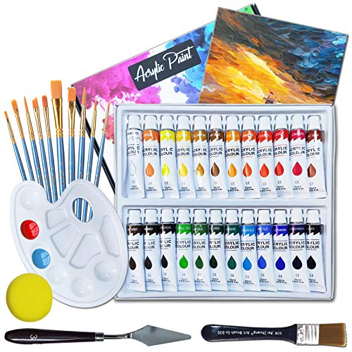 39 PCS Acrylfarben Set, 24 x 12ml NON-TOXIC AcrylfarbenSet für Anfänger, Künstler, Kind, mit 11 pcs pinsel,1Mischpalette, 1 Leinwand, and 1 sponge and 1 Scraper, Perfekt für Leinwand, Holz, Stoff,