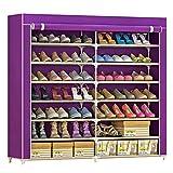 IBEQUEM Zapatero con funda de tela a prueba de polvo de 7 niveles, estante de torre para zapatos, organizador de almacenamiento de zapatos (Morado)