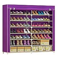 SIHOSTK 靴収納 シューズラック 靴箱 靴棚 カバー付き 7段 シューズラック シューズクローゼット 靴キャビネット 不織布 靴入れ シューズ 靴収納 ボックス 下駄箱 玄関収納 防塵 ブーツ収納 組み立て式 大容量 省スペース 幅120×奥行30×高さ125cm (紫色)