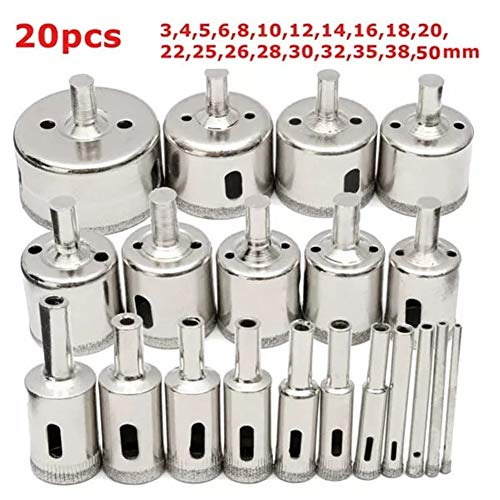 Drill Bits 3-50mm Hole Saw Cutter for Glass Marble Granite 20Pcs Diamond Coated Core Drill Bit Set YAGMGUS Drill Tool