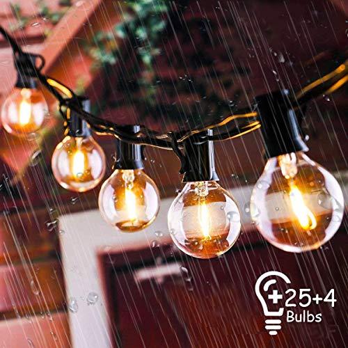 IREGRO Guirnaldas Luminosas Cadena de Luces 9.5M 25 G40 Bombillas Impermeable Guirnalda de Luces Cadena de Luces para Interior, Exterior, Dormitorio, Boda, Partido, Decoraciones de la Navidad