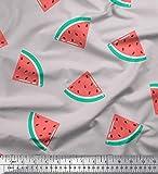Soimoi Grau Baumwolle Batist Stoff Wassermelone Obst Stoff