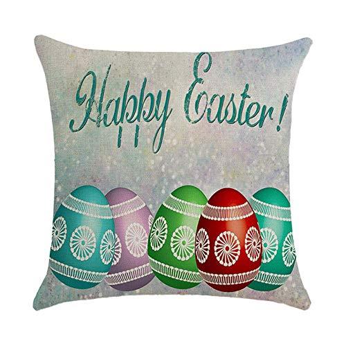 Funda de Almohada de Pascua con Conejito, Huevo, Funda de Almohada con Abrazo de Flores, decoración del hogar de Primavera, sofá, colchón, Funda de Almohada