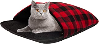 SCIROKKO Self Warming Cat Bed - Thermal Pet Cave Mat No Slip Plaid Heated Pad - Sleeping Bag for House Cats