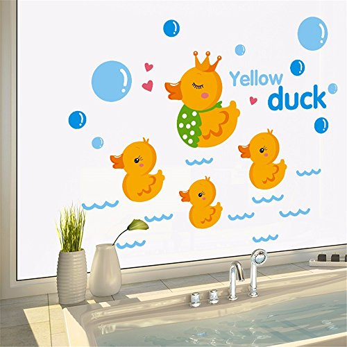 Muurstickers Home Muurstickers Stickers Kinderkamer Slaapkamer Cartoon Leuke Geel Eendjes Badkamer Zwembad Side Tile Glazen Stickers, 30 * 40CM